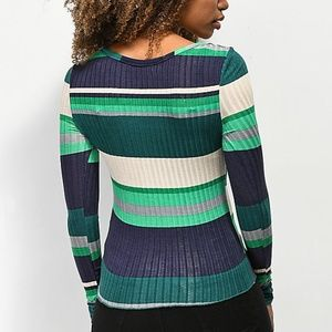 Almost Famous Tops - Ribbed Knit Striped Snap Button Henley Top